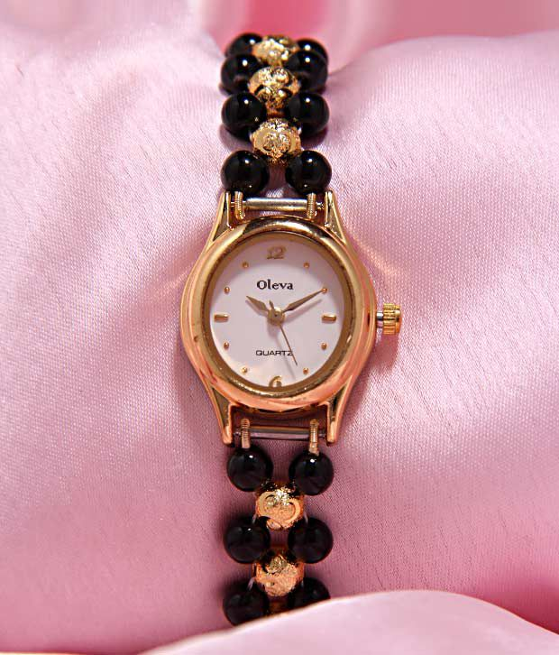 Oleva Black & Shiny Pearl Watch
