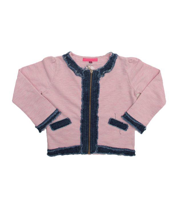 Quarter Spoon Light Pink Girls Jacket For Kids