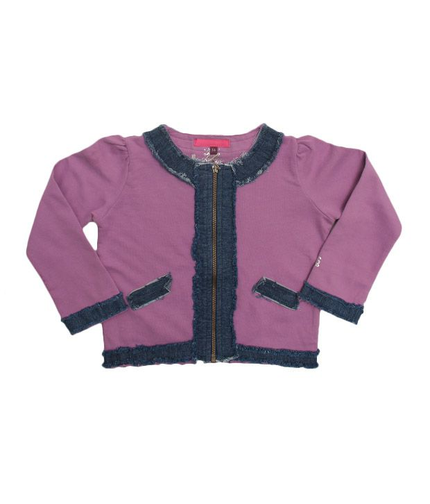 Quarter Spoon Light Purple Full Sleeves Jacket For Kids