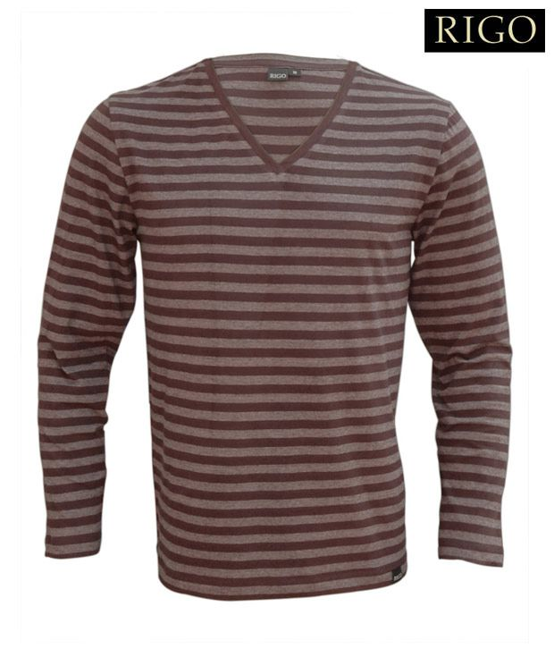 Rigo Brown Striped V-Neck T-Shirt