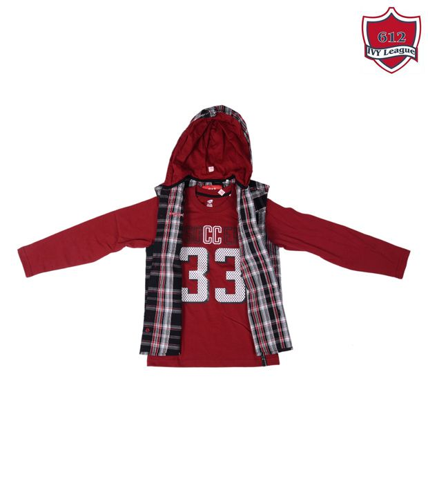 612 IVY League Maroon T-Shirt With Half Jacket For Kids ...
