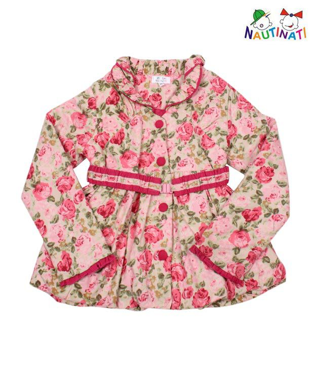 Nauti Nati Floral Print Jacket With Belt For Kids