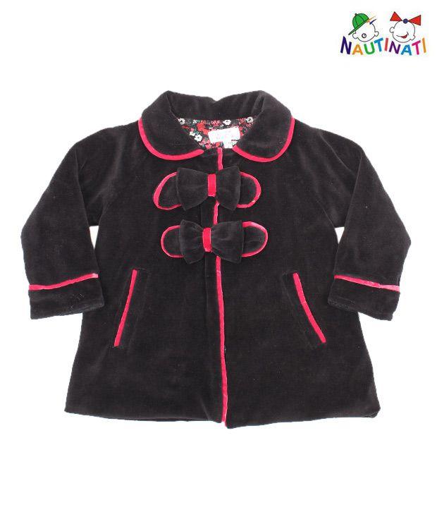 Nauti Nati Stylish Black Jacket For Kids
