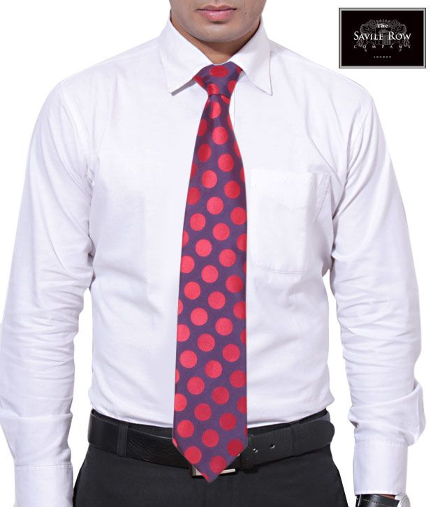 The Savile Row Dotted Red Necktie