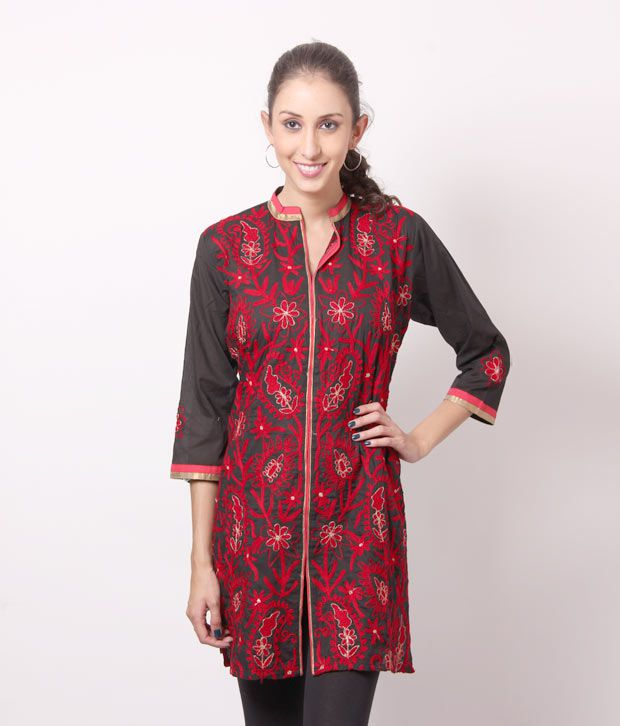 Shree Pleasing Black-Red Cotton Kurti