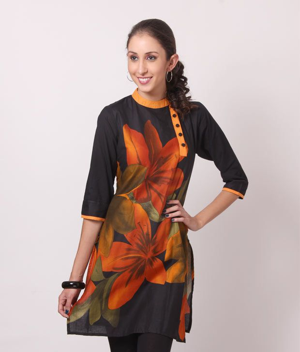 Shree Black-Mustard Cotton Kurti