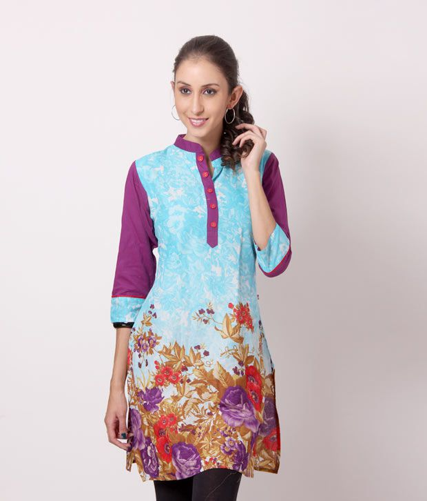 Shree Turquoise Blue-Plum Cotton Kurti