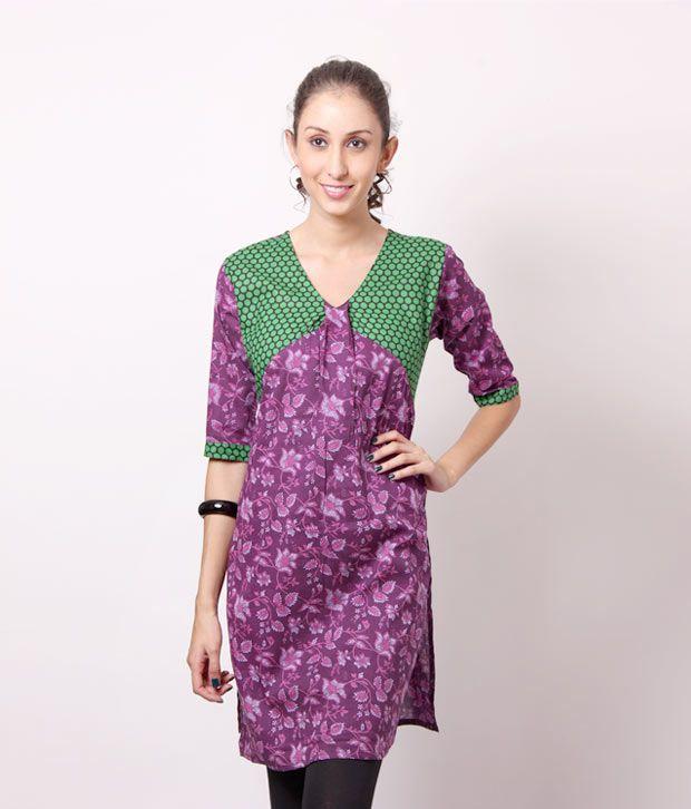 Shree Lovely Purple Cotton Kurti