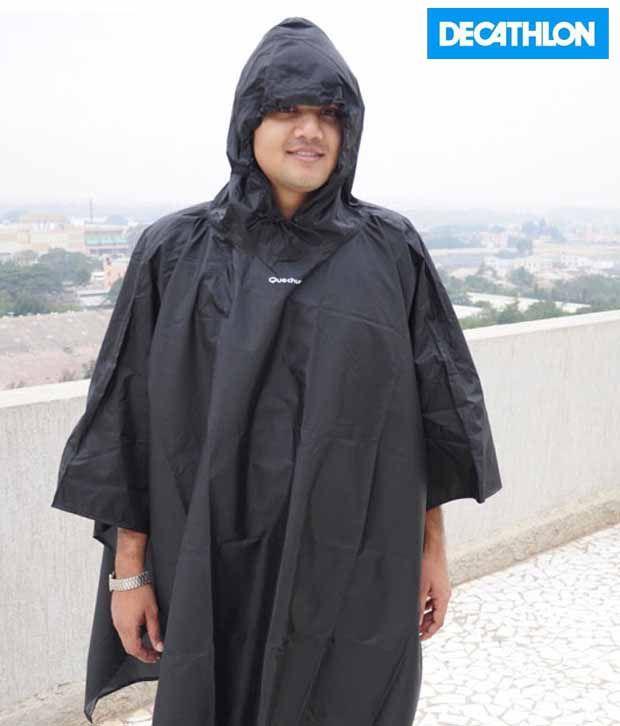 Quechua Poncho Black Hiking Rainwear 658986