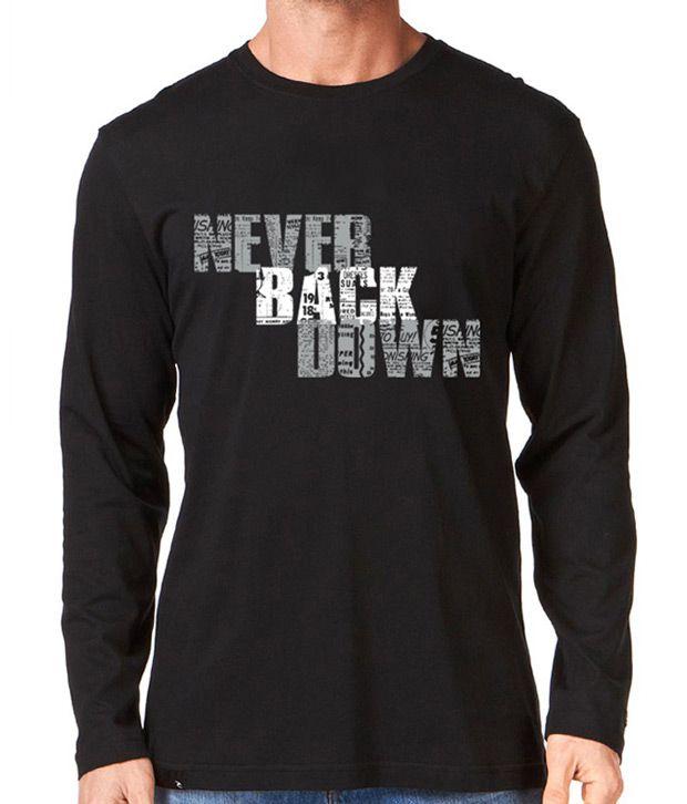 Rigo Black Never Back Down Full Sleeves T-Shirt