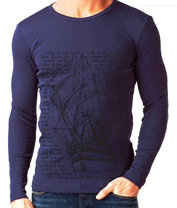 Rigo Cool Blue Full Sleeves Men's T-Shirt