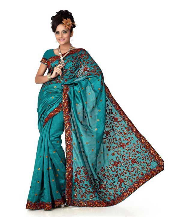 Designer Sarees Blue Art Silk Saree