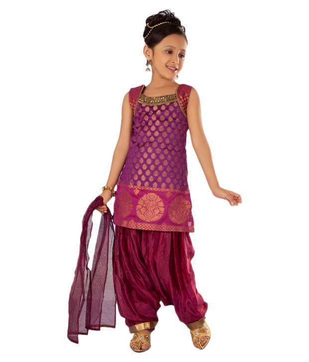 7c12b6f76d Twisha Purple & Pink Patiala Suit With Dupatta For Kids - Buy Twisha Purple  & Pink Patiala Suit With Dupatta For Kids Online at Low Price - Snapdeal