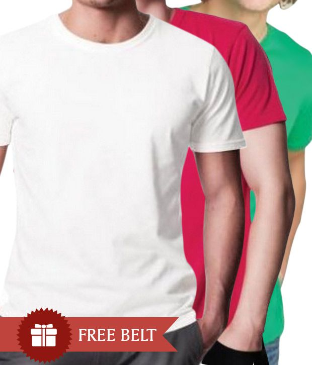 Johney B White-Red-Green Pack of 3 T-Shirts With Freebie