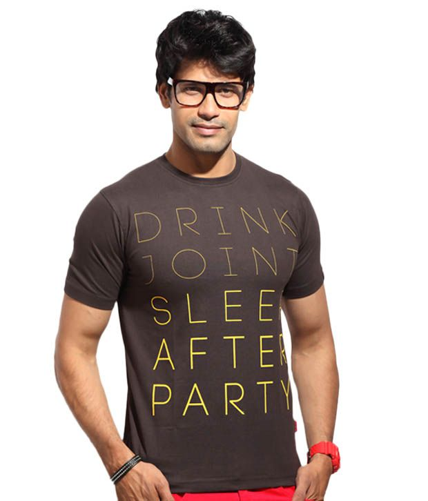 The Indian Garage Brown Drink Joint T-Shirt