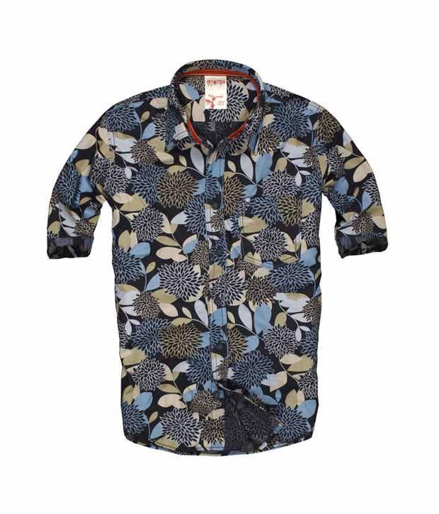 PROBASE Navy Floral Printed Shirt