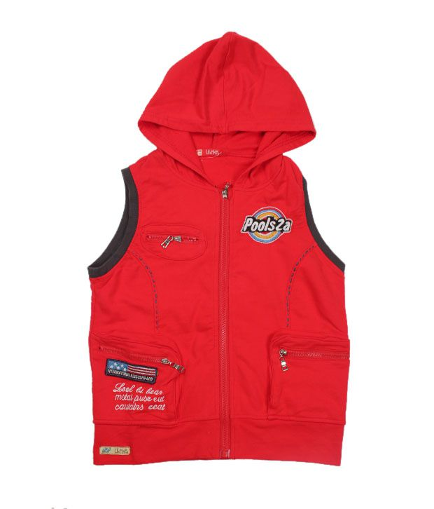 Unikid Vibrant Red Hooded Jacket For Kids