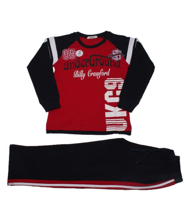 Unikid Red-Navy T-Shirt & Track Pant For Kids