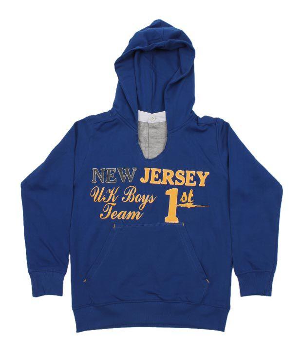 Unikid Royal Blue Hooded Sweatshirt For Kids