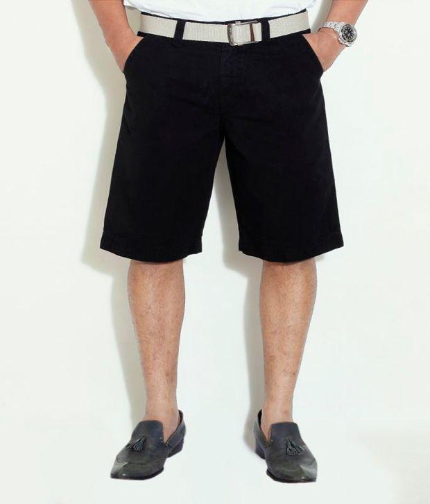 Globus Black Cotton Shorts