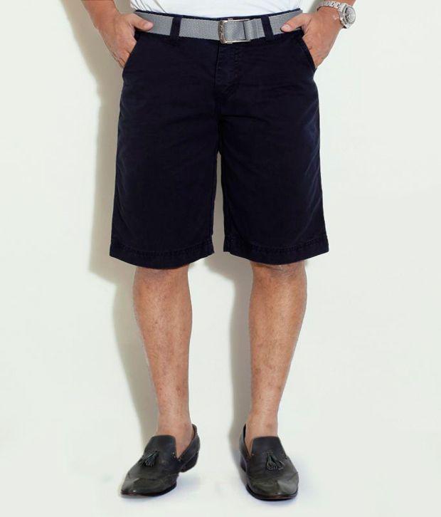 Globus Navy Cotton Shorts