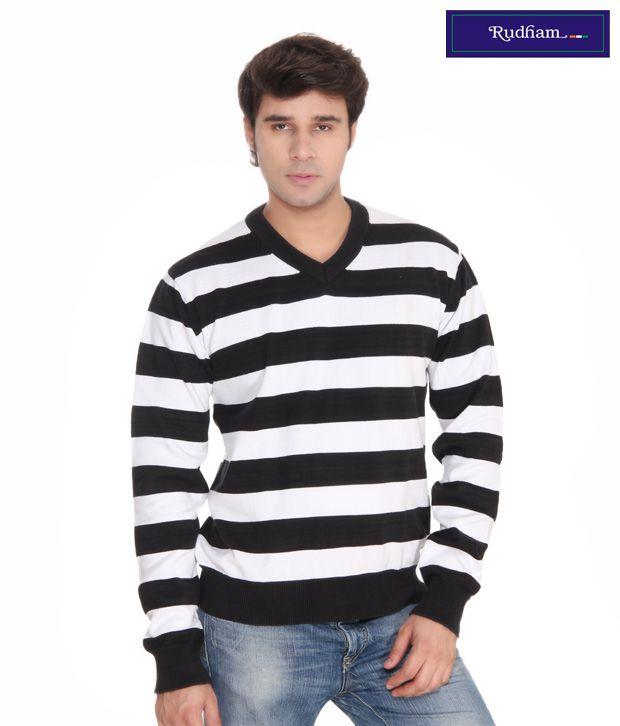 Rudham Black  White Stripes Sweater