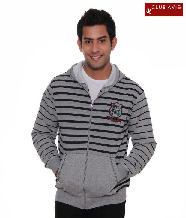 Club Avis USA Grey-Black Striped Men Sweatshirt