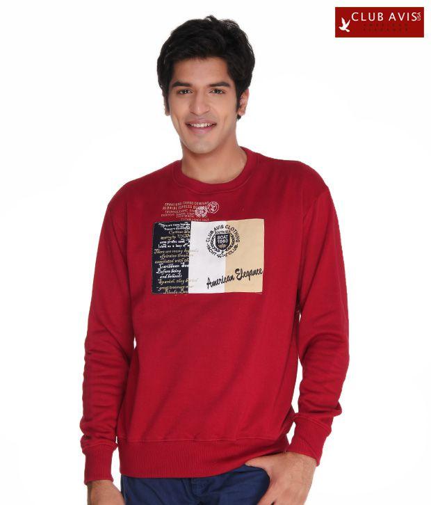 Club Avis USA Classy Red Men Sweatshirt