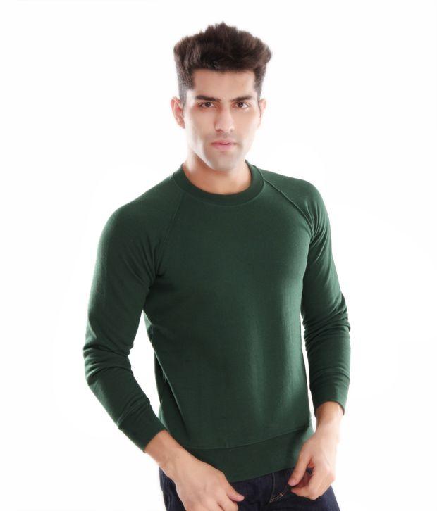 Casual Tees Dark Green Men Sweatshirt