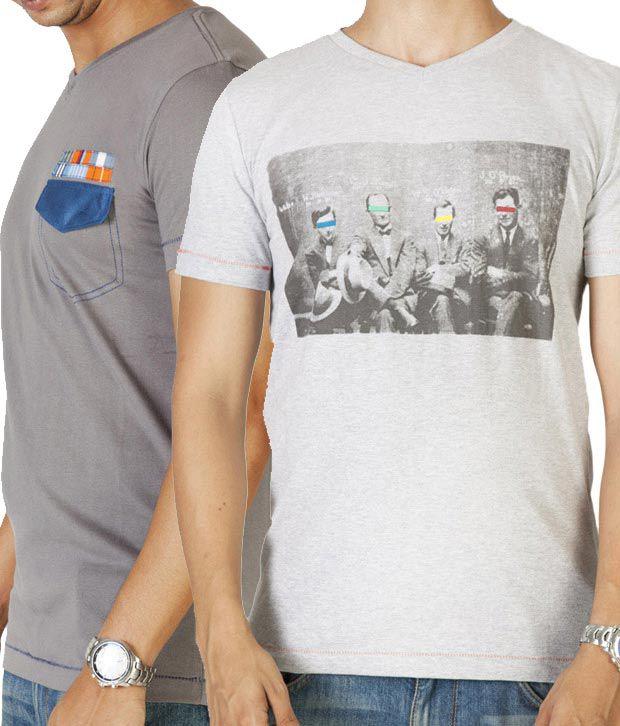 Dirty Laundry Grey Melange & Light Grey Pack of 2 T-Shirts