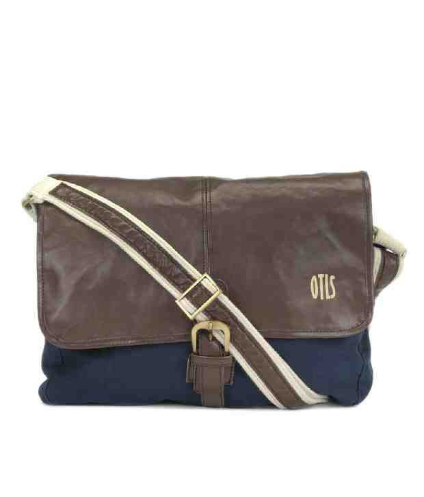 OTLS Contemporary Navy Blue & Brown Sling Bag