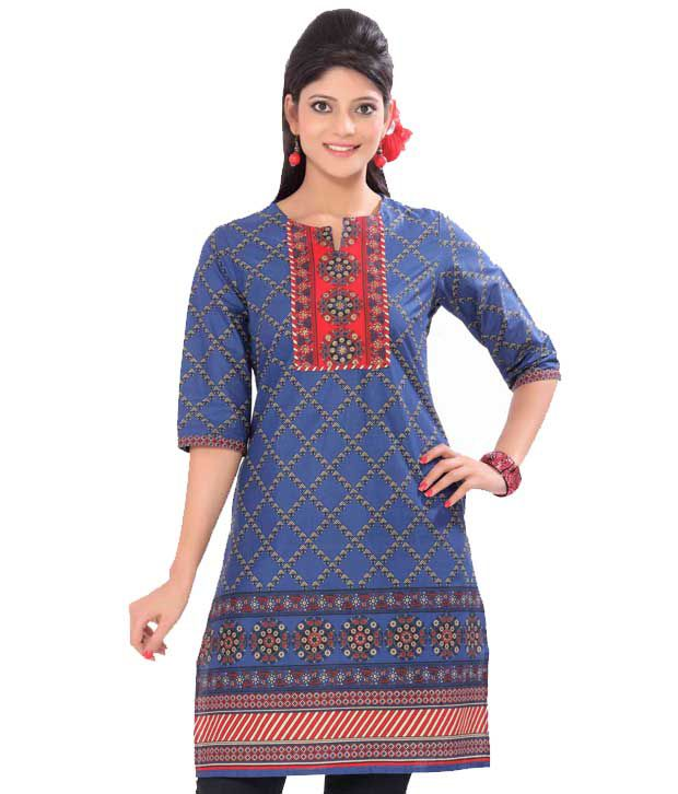 Vishudh Blue Cotton Kurti