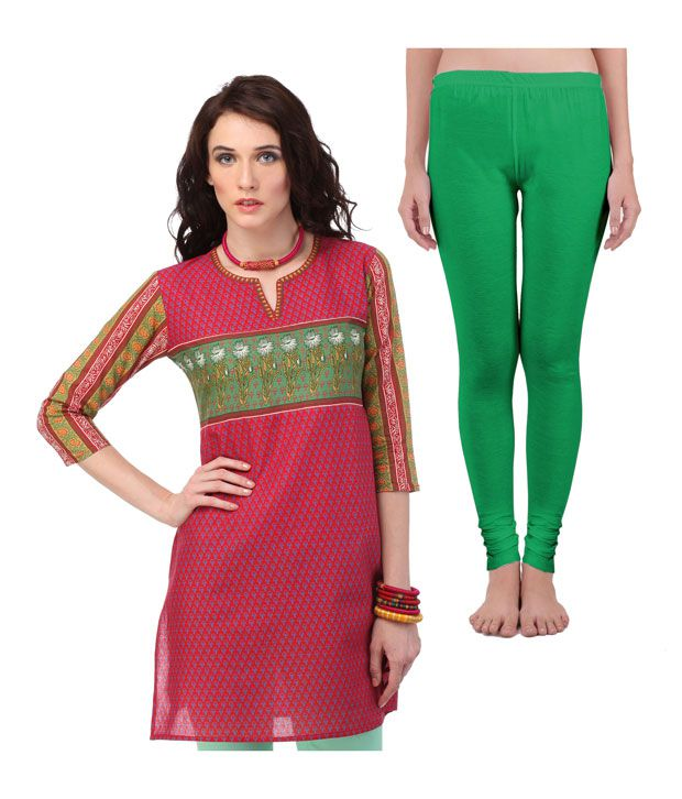 Yepme Trendy Fuchsia Pink Kurti and Green Leggings Combo