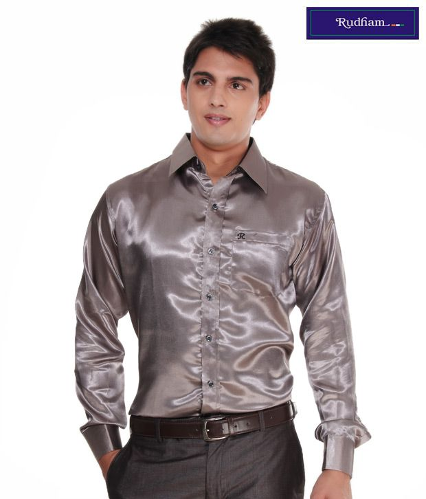 Rudham Charcoal Grey Satin Men Shirt - Buy Rudham Charcoal Grey ...