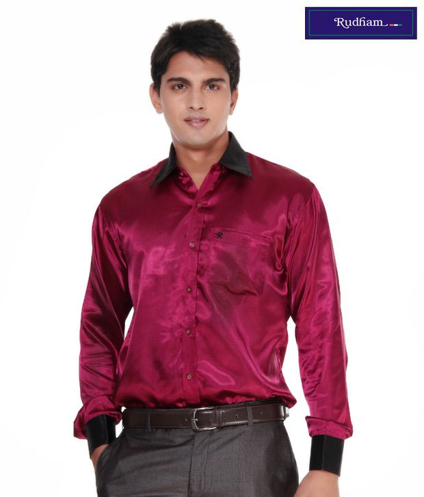f7560fdb5cc Rudham Wine   Black Satin Men s Shirt - Buy Rudham Wine   Black Satin Men s  Shirt Online at Best Prices in India on Snapdeal