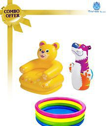 Intex Combo Teddy Chair & Baby Swimming Pool W/Hit Me Bop Bag (Asst. Colour)