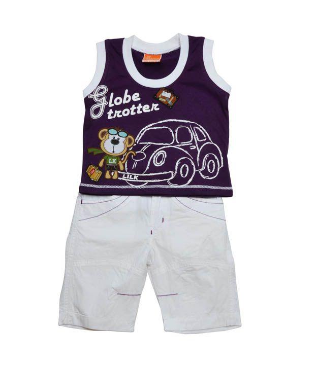 Little Kangaroos Purple T-Shirt & White Shorts For Kids