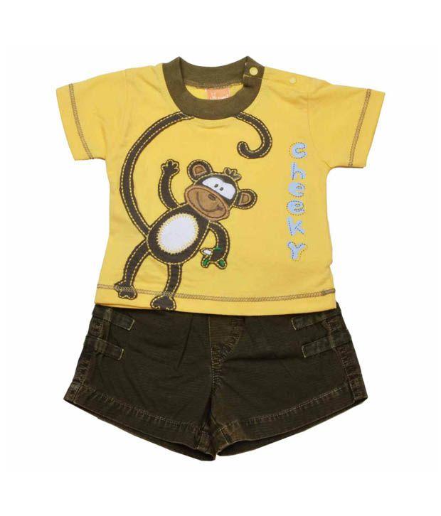 Little Kangaroos Yellow Cheeky Monkey T-Shirt & Shorts For Kids