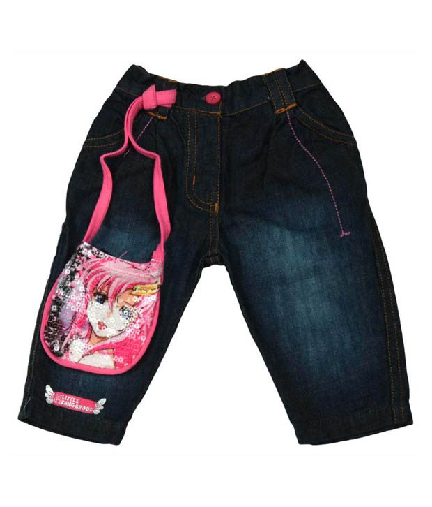 Little Kangaroos Blue Jeans With Purse For Kids