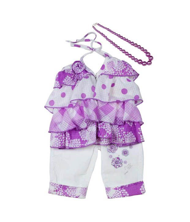 Little Kangaroos Purple Ruffle Top & White Capri For Kids