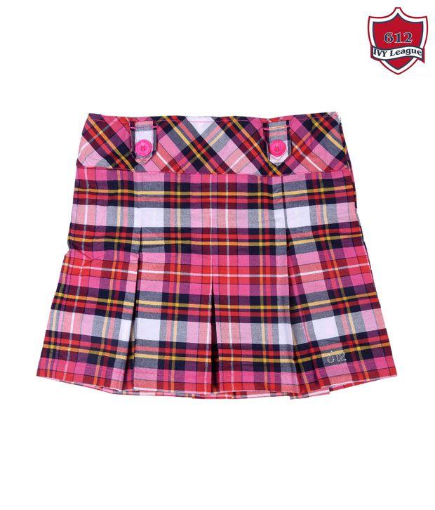 612Ivyleague Pink & Blue Checkered Skirt