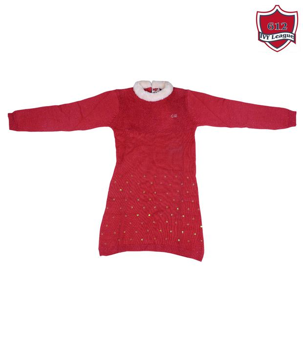 612Ivyleague Red Fur Neck Tunic Dress