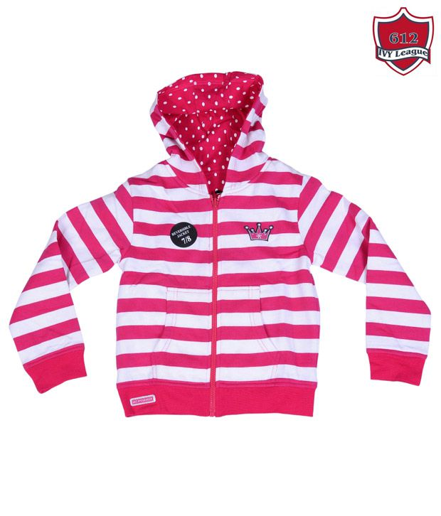 612Ivyleague Pink & White Hooded Sweatshirt