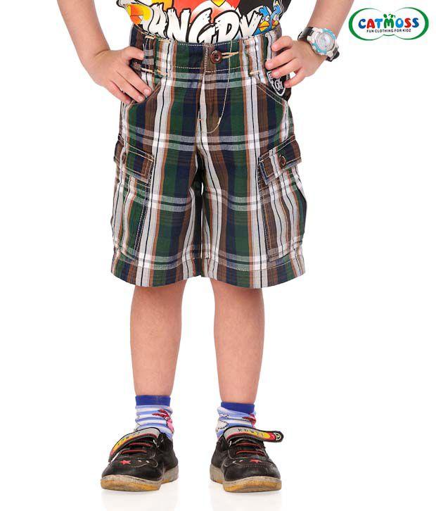 Catmoss Serene Checks Jamaican Shorts For Kids