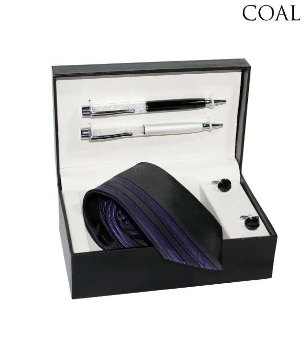 Coal Combo set of Purple & Black Necktie, Two Pens & Black Round Cufflinks
