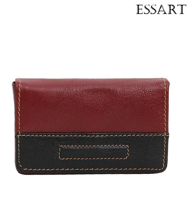 Essart Brown & Black Contrast Stitched Card Holder