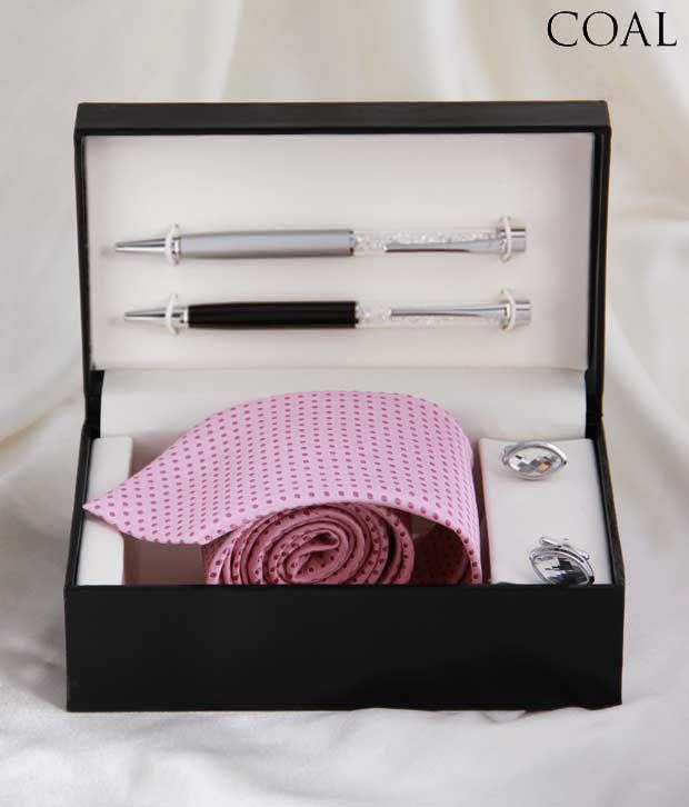 Coal Alluring Combo Set Of Necktie, Cufflinks & Pens