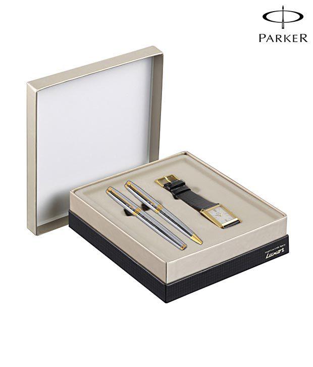 Parker Ambient Shiny Chrome GT Pen Set + Parker Golden Watch Free