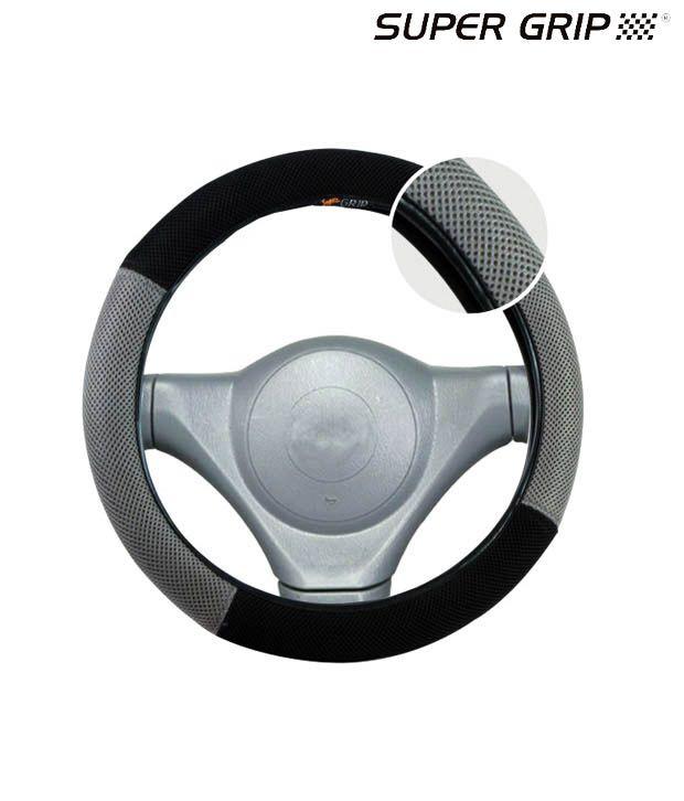 Super Grip - Airmesh - Ring Type Steering Cover - Grey and Black - MARUTI