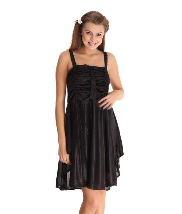 Buy Affair Black Lycra Pleated Nighty Online at Best Prices in India -  Snapdeal ec9153621